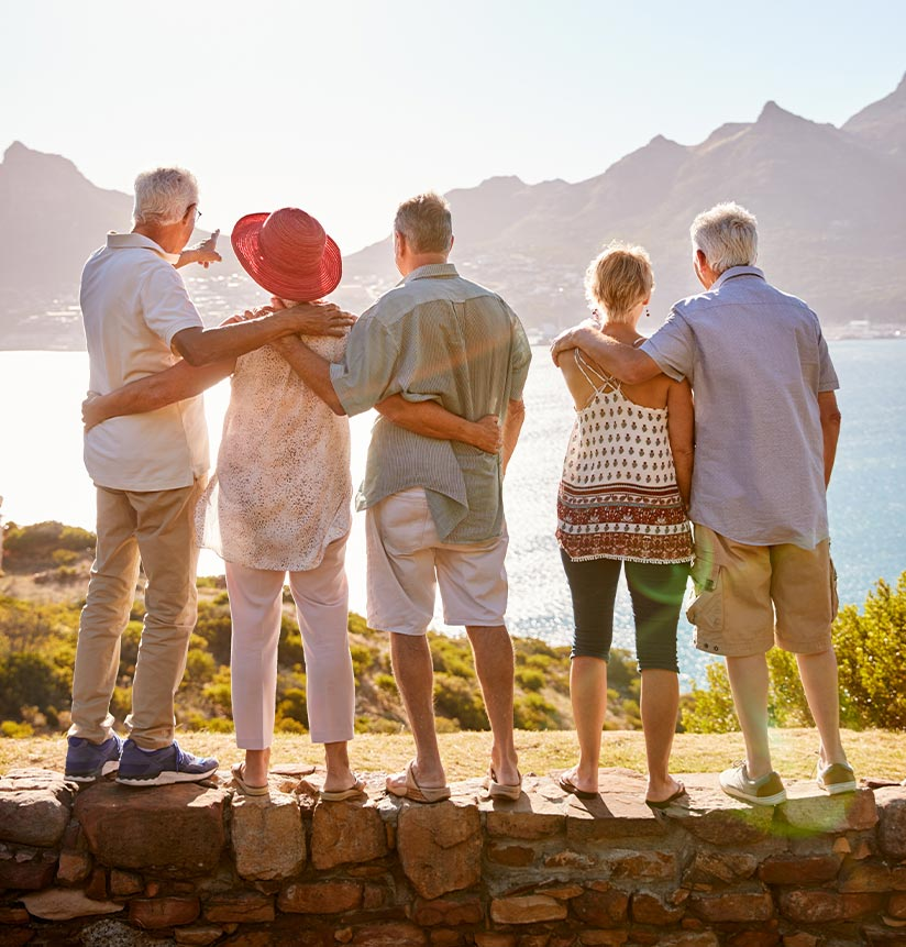 A Group of Seniors Looking At the Ocean