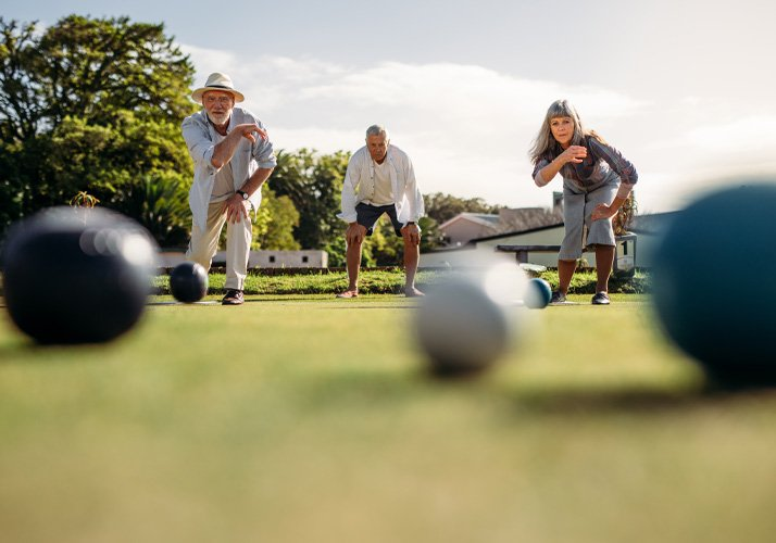 Seniors Playing Outdoor Game