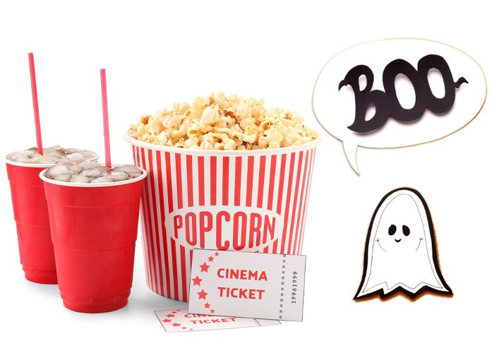 Halloween Matinee Popcorn, Sodas and a Ghost Saying Boo